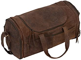KomalC 21 inch U Zip Duffel Bag Travel Sports Overnight Weekend Leather  Duffle Bag for Gym 8d2fc79df8810