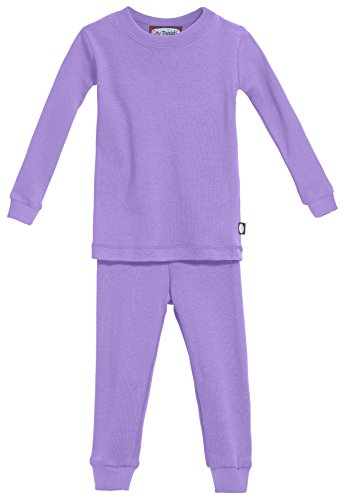 (City Threads Certified Organic Thermal Pajama Set, Little Boys and Girls for Sensitive Skin/SPD/Sensory Friendly, Medium Purple, 4T )