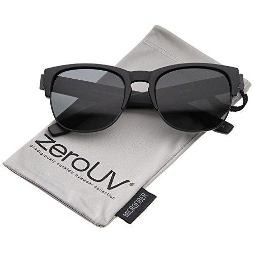 zeroUV - Contemporary Wide Temple Keyhole Nose Bridge Half-Frame Sunglasses 54mm (Matte Black-Black / - Bridge Nose Wide Of