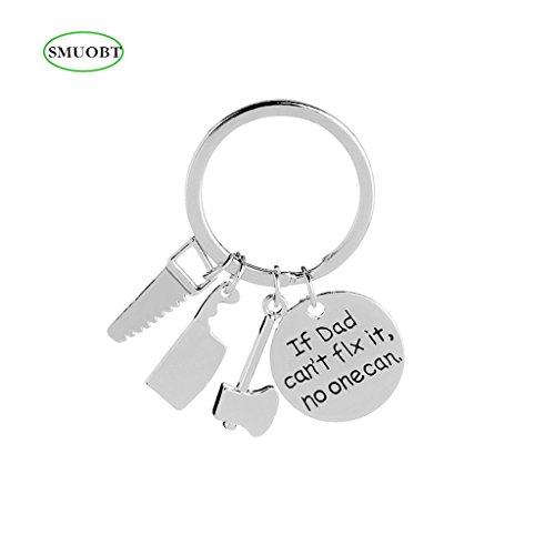 SMUOBT Father's Day Gift Dad Keychain If Dad Can't Fix it No One Can Charm Pendant Keychain Father's Day Gift Birthday Christmas Gift Keyrings for Father Daddy from Son Daugter,Style 2