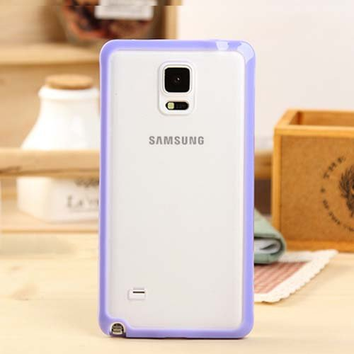 Galaxy Note 4 Case, ANLEY Candy Trim Series - [1.5mm Slim Fit] [Shock Absorption] Jelly Silicone Bumper with Frosted Clear Hard Back Cover for Samsung Galaxy Note4 (Lavender Purple) + Free Ultra Clear Screen Protector Film