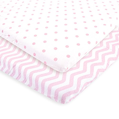 Luvable Friends Fitted Playard Sheet, 2 Pack, Pink Chevron and Dots, One Size by Luvable Friends