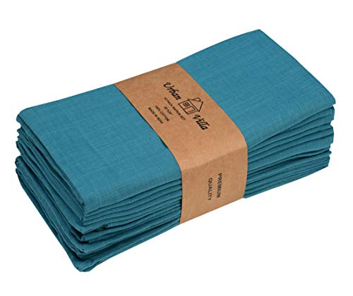 Solid Slub Turq Color,Dinner Napkins, Everyday Use, Premium Quality,100% Cotton Slub, Set of 12, Size 20X20 Inch, Over sized Cloth Napkins with Mitered Corners, Ultra Soft, Durable Hotel Quality
