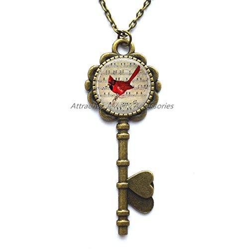Cardinal Jewelry Cardinal Key Necklace Cardinal on Sheet Music,Red cardinal Key Pendant Bird jewelry Gift for her Red cardinal art,QK006