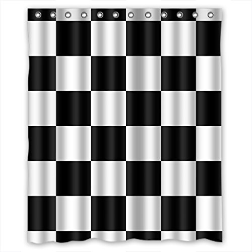 KXMDXA Custom Black White Checkered Pattern Shower Curtain Waterproof Polyester Bathroom 60 x 72 inch