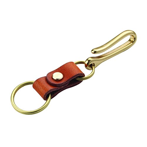Robrasim Handmade Genuine Leather Keychain – Solid Brass Hardward Belt Clip Key Ring – Brown