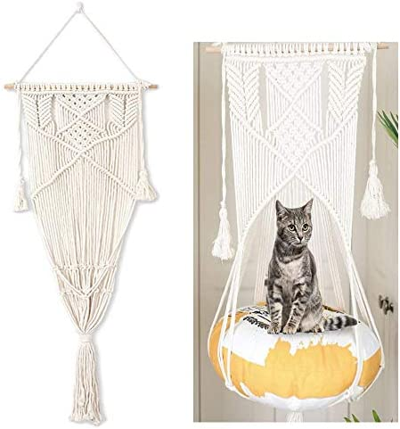 Cat Hand-Woven Hanging Hammock Basket