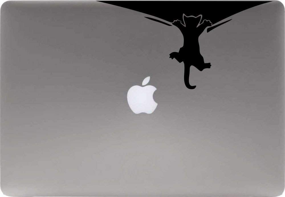 Cat Hanging Wall Vinyl Decal Sticker for Computer MacBook Laptop Ipad Electronics Home Window Custom Walls Cars Trucks Motorcycle Automobile and More (Black)