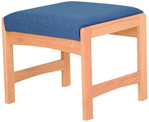 Wooden Mallet Sled-Base Single Bench, Medium Oak, Powder Blue