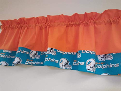 Orange with Dolphins NFL football team fabric on the bottom Two tones combo colored, Window treatment, sports, playroom, children, Basement, Man-cave decor. Custom Rod pocket 55 wide. Teens