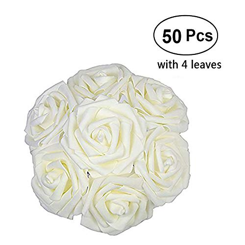 Lmeison Artificial Flower Rose 50pcs Ivory Real Looking Artificial Roses w/Stem for Bridal Wedding Bouquets Centerpieces Baby Shower DIY Party Home Décor, Ivory