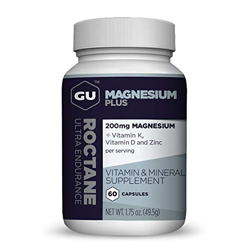 GU Energy Roctane Magnesium Plus Capsules with Vitamin K, D and Zinc, 60-Count Bottle (1-Month Supply)