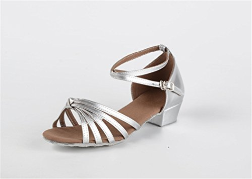 Shoes heels Latin Flat Latin Silver Shoes Ballroom Ruanlei Dance Soft bottom ShoesChildren Satin Prom Dance wCq1pqanx