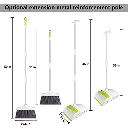 Broom and Dustpan Set with Long Extendable Handle-Wisp and Pet Hair Cleaning,Ideal Kitchen, Home Ourdoor Lobby Upright Broom and Dust pan Combo with Holder by Skizem (Image #1)