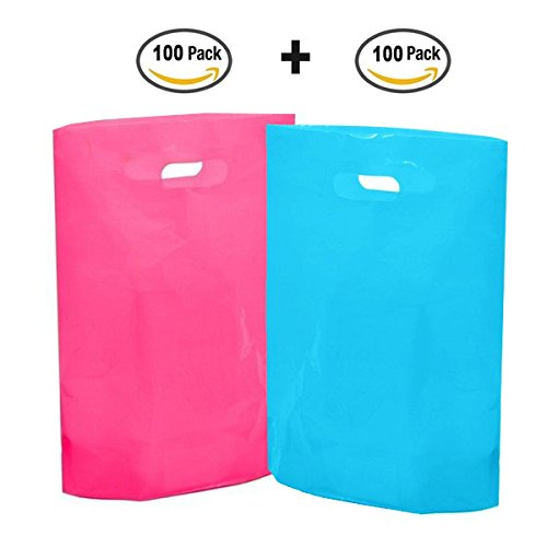 Merchandise Bags 12 x 15 inches 200pcs - Zvpod Reusable Retail Plastic Glossy Shopping Bags with handles, 2.36 Mil. for Stores Shops Gifts and Tradeshows, Pink and Blue