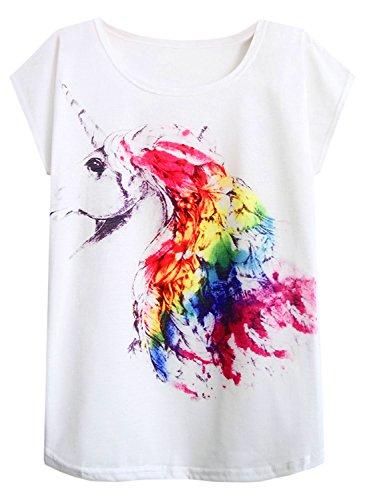 (futurino Women's Summer Colorful Bow Tie Unicorn Print Short Sleeve T-Shirt Tops (XL, Rainbow Feather))