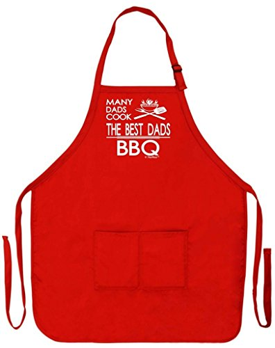 Red Barbecue Apron - ThisWear Father's Day Gift for Dad Many Dads Cook Best BBQ Funny Apron for Kitchen BBQ Barbecue Cooking Baking Crafting Gardening Two Pocket Apron for Grandpa or Dad Apron Red