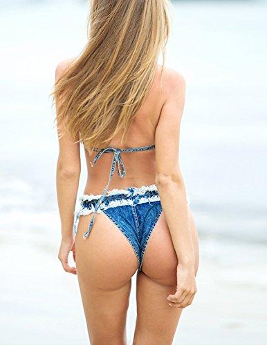 Sitengle Para Mujer Bañador Push up Jeans Bikinis Conjuntos Deporte con Follaje Impresión Atractivo Traje de Baño Beachwear Swimsuit Swimwear dos Piezas Azul