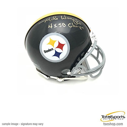Steelers Throwback Helmet Pittsburgh (Total Sports Enterprises Mike Wagner Signed Pittsburgh Steelers Throwback Black Mini Helmet with 4X SB Champs Inscription)