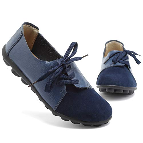 KEESKY Blue Loafers for Women Slip on Flat Work Shoes Size ()