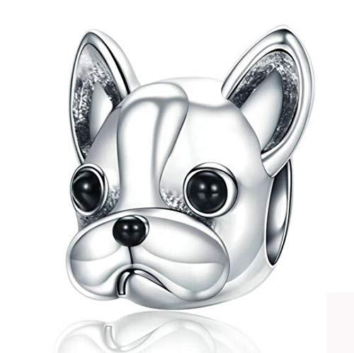 KFN 925 Sterling Silver Bulldog Bead Charms Puppy Dog Animal Charms Fit European Snake Chain - Bulldogs Charm Silver