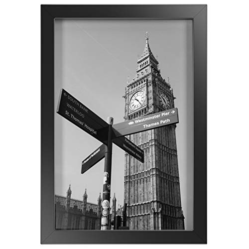 ONE WALL Tempered Glass 8x12 Inch Picture Frame, Black Wood Frame for Wall and Tabletop - Mounting Hardware Included