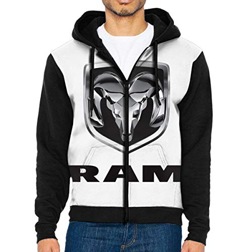 Men's Hoodies Ram Trucks Dodge Logo Pullover Sweatshirts Hooded with Pockets Jackets Black
