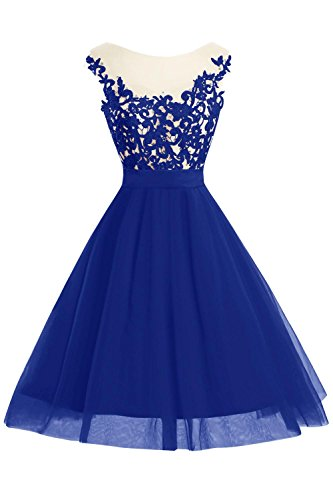 Prom Party Dora Homecoming Scoop Dress Women A Blue Cap Line Royal Sleeve amp;Acute;s Short Bridal qvzHZxqA