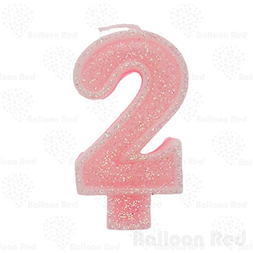 Numerals Birthday Party Cake Candle & Happy Birthday Cake Topper, Glitter Pink, Number