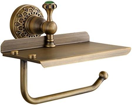 GONDD 全銅トイレットペーパーホルダーヨーロッパアンティーク浴室ペーパータオルラック無料パンチ壁掛け収納ラック、サイズ:18x9.5cm