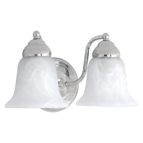 Capital Lighting 1362CH-117 2-Light Vanity Fixture, Chrome Finish with Faux White Alabaster Glass ()