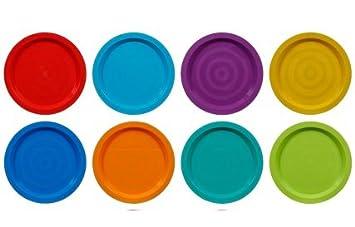 Fingey Juego de 8 Platos y Vasos de plástico para microondas y Picnic, Varios Colores, plástico, Plates