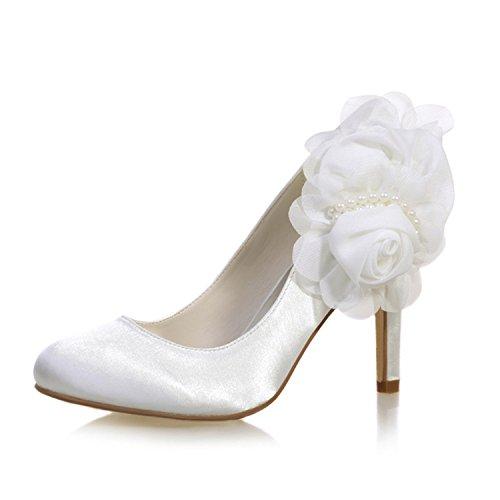 Sera Pompa Da Tacco Avorio Alto Raso Di toe Sottolineato Delle In Matrimonio 5623 Modaiolo Donne Scarpe Sposa Festa 11 BwZBf