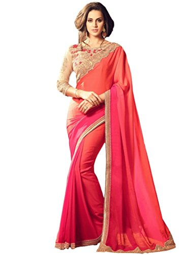 EthnicWear Classic New Shaded Pink Festival Party Wear Crape Silk Resham Women Sari Saree With Heavy Embroidered Blouse