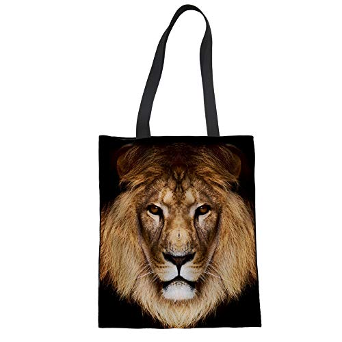 Upetstory Canvas Tote Bag Cool Lion Animal Printed Shoulder Bag for Women School Work Outdoor Gym Travel and Shopping