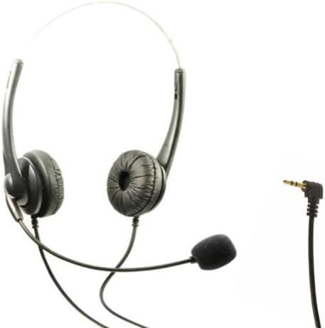 TriProC Auriculares de diadema DC 2,5 mm para tel/éfonos m/óviles compatibles con Jabra Cisco Polycom Panasonic