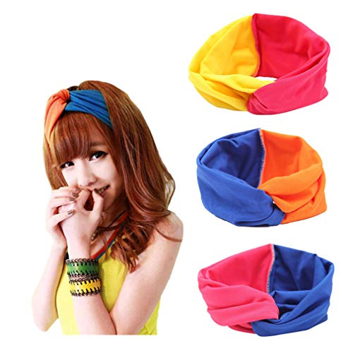 Elastic Turban Headbands, ReachTop 3 Pack Knotted Yoga Head Wrap Fashion Knot Hairband Twisted Hair Accessories Contrast Color for Women Girls Yoga Sports Washing ()