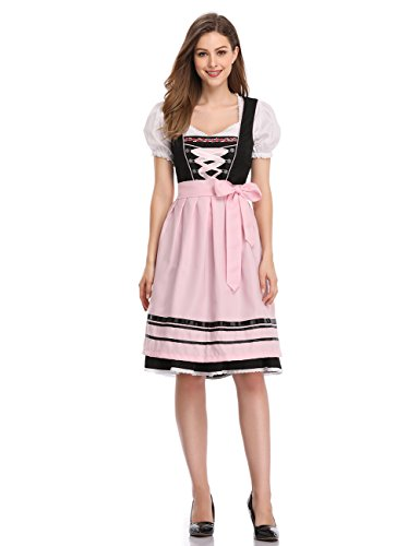 GloryStar Women's German Dirndl Dress 3 Pieces Oktoberfest Costumes (2XL, Black-Pink-Two) -