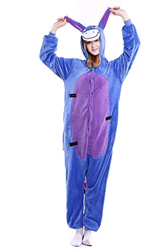 Unisex-Adult Animal Onesie Pajamas Cosplay Costume Halloween (X-Large (70.1-72.8 Inch), Donkey)