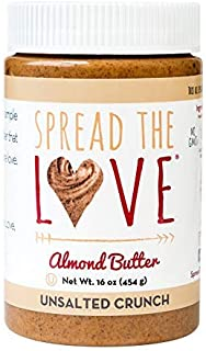 product image for Spread The Love UNSALTED CRUNCH Almond Butter, 16 Ounce, All Natural, Vegan, Gluten Free, Creamy, No Added Salt or Sugar, No Palm Fruit Oil, Not Pasteurized with PPO, Made in California