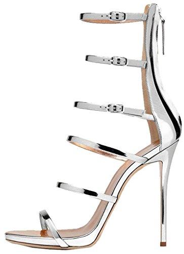 Calaier Mujer Cainter Tacón De Aguja 12CM Sintético Cremallera Sandalias de vestir Zapatos Plateado