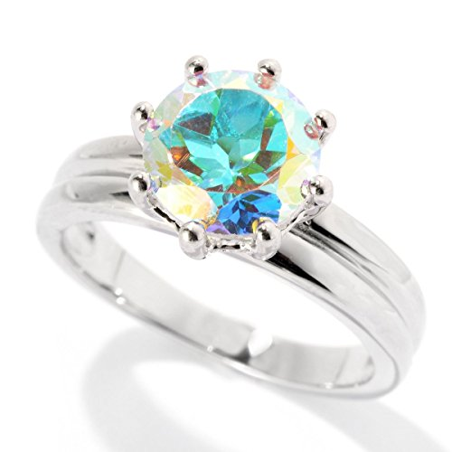 Sterling Silver 2.0cttw Opalescent Topaz Solitaire Ring