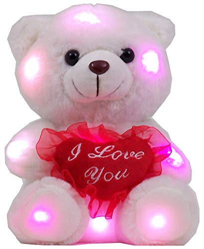 Ritmika Stuffed Teddy Bear Plush LED Toy with I Love You Heart Pillow, White 12