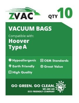 Hoover Type A Allergy MicroFiltration Vacuum Bags; Fits Encore, PowerMax,Spectrum, Spirit, Tempo, Innovation Vacuum Cleaners Similar to Part# 43655010,4010001A, 4010324A, 4010100A by ZVac (10)