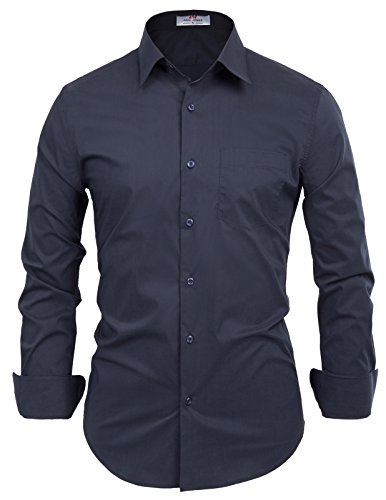 PAUL JONES Men's Regular Fit Classic Collar Business Dress Shirt