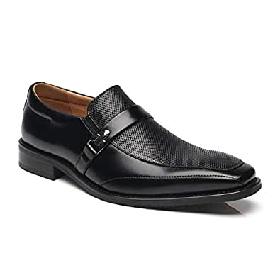 NXT NEW YORK Men's Leather Dress Shoes Slip On Plain Toe Loafer Shoes Men Formal Classic Comfortable Business Shoes Black Size: 7