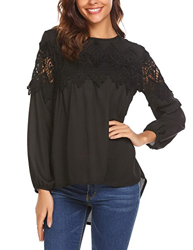 Sheer Sleeve Baby Doll Top (Teewanna Women Casual Boho Lace O-Neck 3/4 Sleeves Shirt Blouse Top(Black,XL))