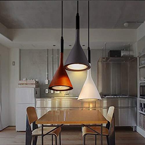 Candtong Bar Counter Vintage Wrought Iron Chandelier, Creative Adjustable Height Triangular LED Chandelier, Hanging Spotlight Dining Room Bedroom Corridor lamp (Color : Orange)