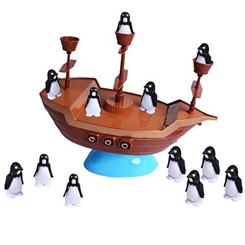 LHXbang バランスバランスのとれたペンギン 海賊船のおもちゃセット ボートペンギン ボート 海賊 ボート 卓上おもちゃ インタラクティブな楽しいボードゲーム パーティーゲーム 子供のおもちゃ ギフト ボートにロックされない