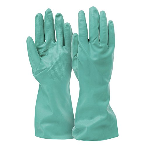 Green Flock Lined (Tradex Green Nitrile Medium Flock-Lined Cleaning Gloves - 13